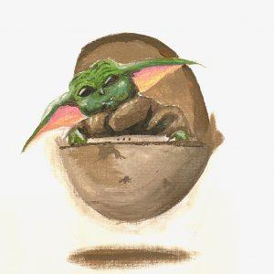 Mandalorian Baby Yoda Original Art